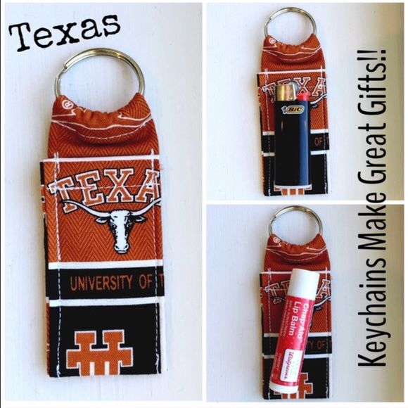 "UT Texas College Print Chapstick Keychain NWOT UT Texas College Print Chapstick Keychain Fits Mini Bic Lighters~and Flash Drives Size 4"" x 1  1/2""  NWOT Smoke Free Home Chapstick/Lighter NOT Included ✨Pattern placement varies✨ All Keychains are made with high quality material from a smoke free home Interface Metal Keyring Accessories Key & Card Holders"