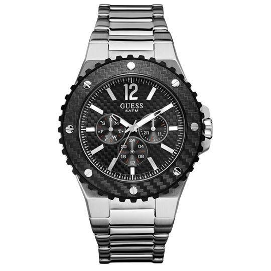 GUESS ανδρικό ρολόι με μπρασελέ και μαύρο καντράν. Θα το βρεις στο e-shop μας με 35% έκπτωση.
