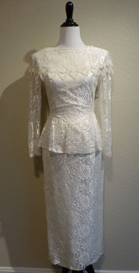 Vintage LACE Peplum Wedding Dress Gown Scallop Cocktail Party XS Pencil Straight