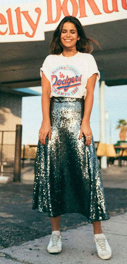 #graphic #glam #sequin skirt and white print tee #outfit