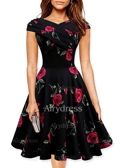 Floral Short Sleeve Above Knee None Dresses (1030966) @