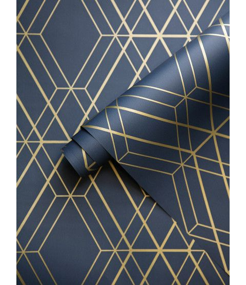 This Metro Diamond Geometric Wallpaper in Navy Blue and Gold features contemporary metallic elements. Part of the World of Wallpaper Metro Collection. Free UK delivery available.