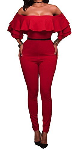 Mr.Seven Womens Sexy Off Shoulder High Waisted Long Club Jumpsuit Romper Outfit (S, Red)  Special Offer: $24.89  288 Reviews Mr.Seven Womens Sexy Off Shoulder High Waisted Long Club Jumpsuit Romper Outfit SIZE S:Bust 32.3″/Waist 25.2″/Hip 34.6″/Length 51.5″ SIZE...