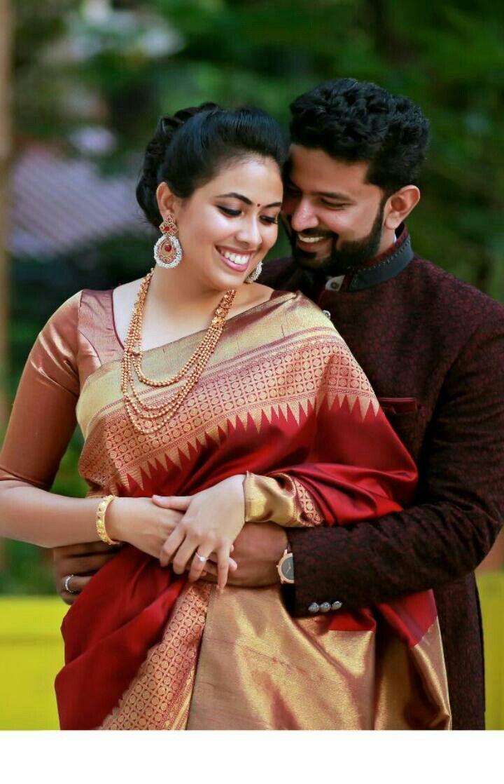Kerala bride in Red kanchipuram saree