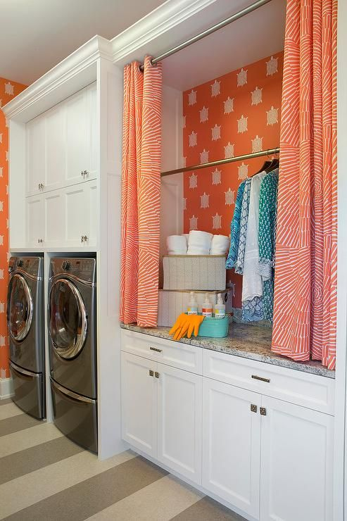 Laundry Room with Drying Rack Hidden By Curtains