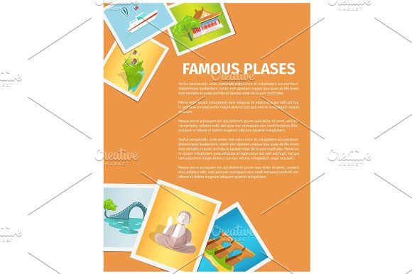 Concept of Famous Places in Taiwan on Photographs Graphics Famous places in Taiwan on photographs, vector illustration. Lunar bridge, statue of Buddha, Confuci by robuart