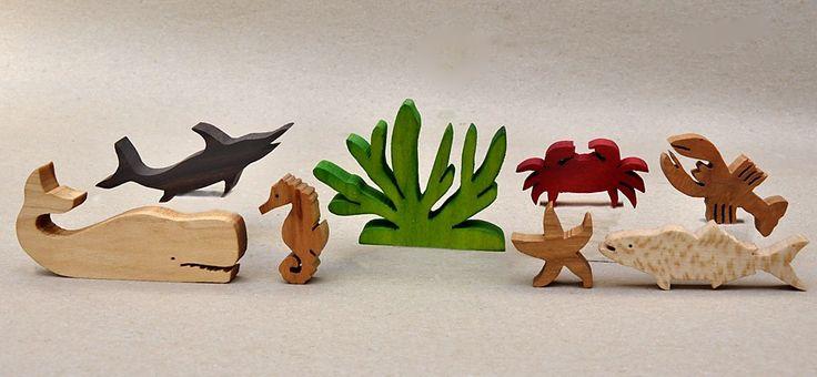Marine Animal Set for Kids Wood Animal Block Set by ArksAndAnimals