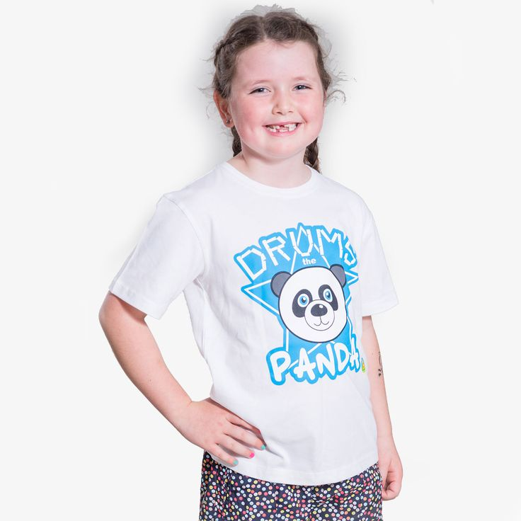'Drums' The Panda Short Sleeve tee shirts  made from 100% combed cotton available in White or Peach