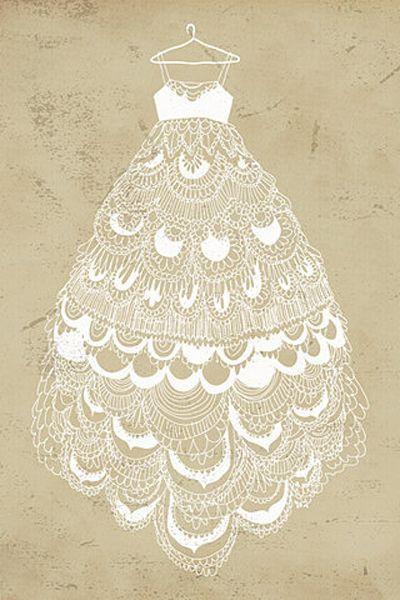 Lace Wedding Dress Drawing