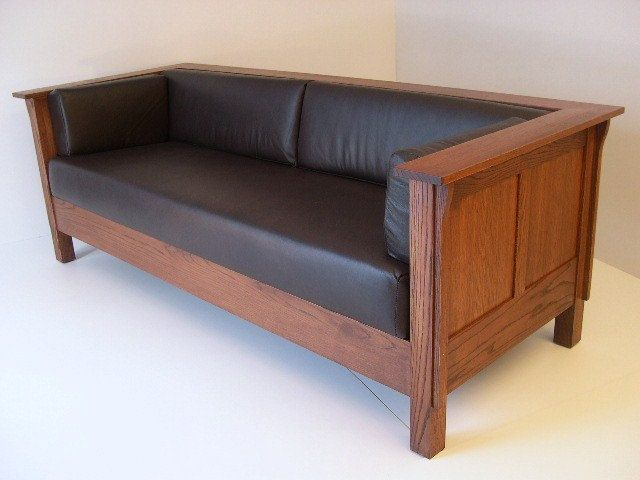 Mission Arts And Crafts Stickley Style Prairie Panel Leather Settle Sofa Couches Pinterest