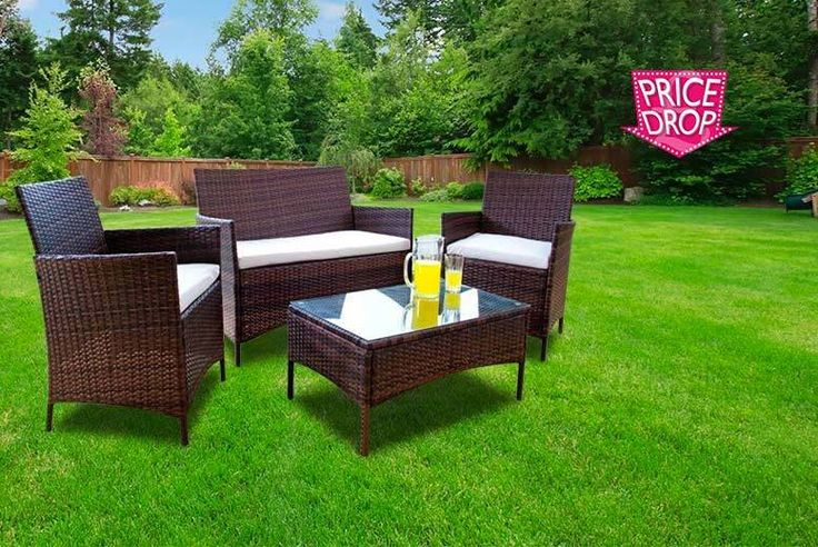 4pc Rattan Garden Furniture Set deal in Sheds & Garden Furniture Deck your conservatory, garden or patio with a four-piece furniture set.  Comprising a stylish rattan two-seater sofa and matching rattan armchairs.  Plus a tempered glass coffee table. Great for indoor and outdoor use.  Complete with waterproof cushions, with machine-washable covers.  Made from brown-coloured premium quality,...