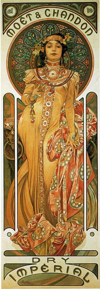Page: Chandon Cremant Imperial    Artist: Alphonse Mucha    Completion Date: 1899    Style: Art Nouveau (Modern)    Genre: poster    Technique: lithography    Dimensions: 23 x 60.8 cm    Gallery: Private Collection    Tags: female-portraits, posters-and-advertisements