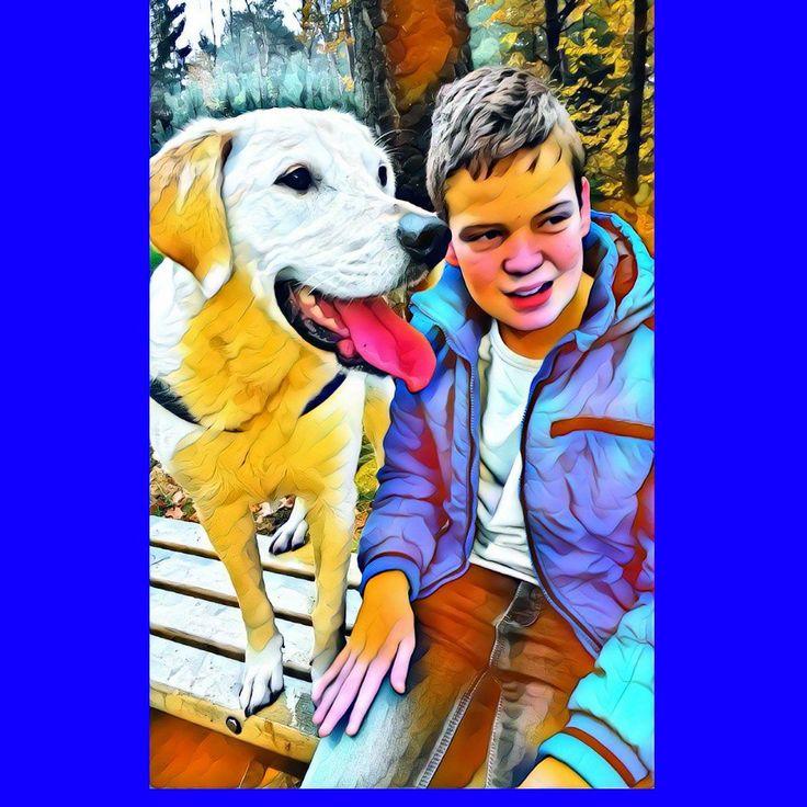 Tycho (13) met zijn hond Guus. #selfiekunst