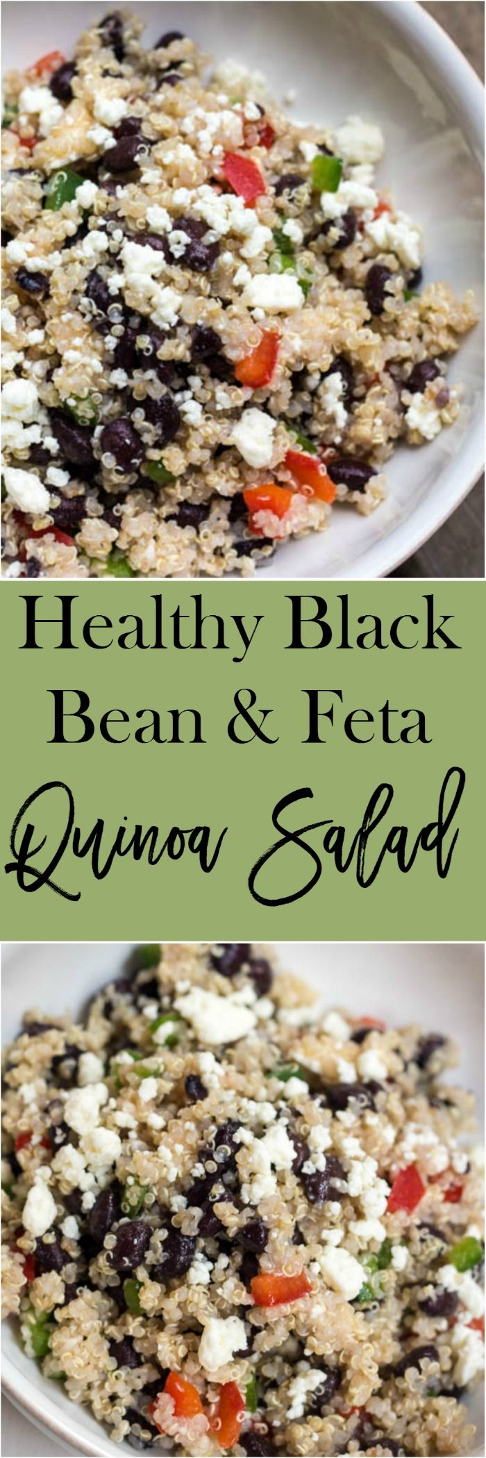 Healthy Black Bean and Feta Quinoa Salad - an easy side dish recipe that you can throw together in about 5 minutes.