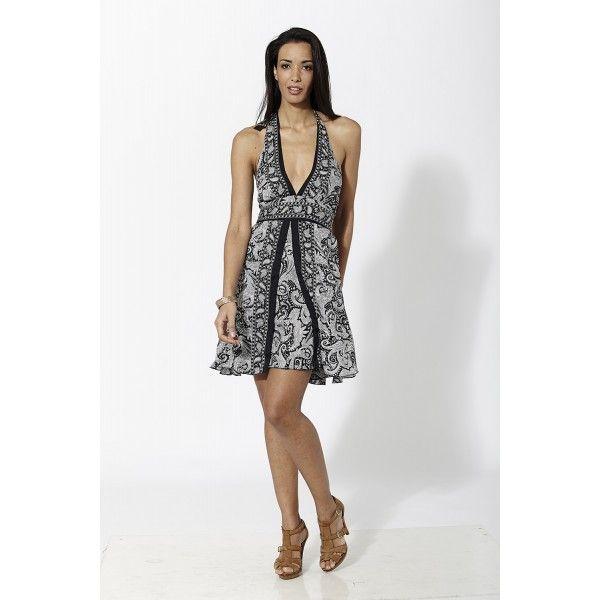 Vestido corto estampado con escote y abertura frontal de doble capa Negro Mauna Barcelona - fashion - moda