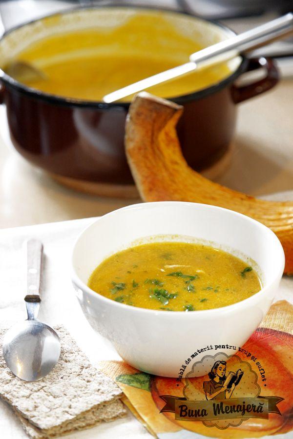 Supa crema de dovleac cu ghimbir si sofran