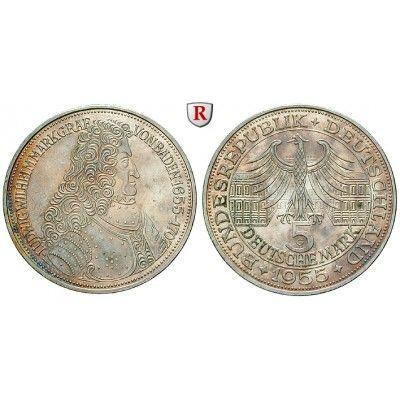 Bundesrepublik Deutschland, 5 DM 1955, Markgraf von Baden, G, vz, J. 390: 5 DM 1955 G. Markgraf von Baden. J. 390; vorzüglich, kl.… #coins