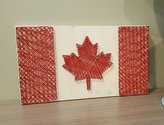 Show your Canadian pride with one of these Canadian flag string art designs. Happy 150th birthday Canada!  ❤  Hey, I found this really awesome Etsy listing at https://www.etsy.com/ca/listing/522198762/canadian-flag-string-art-4-colour