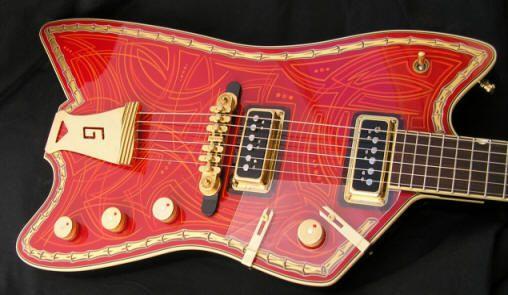 Gretsch tailpiece on a custom Ed Roman Jupiter Thunderbird built for Billy Gibbons
