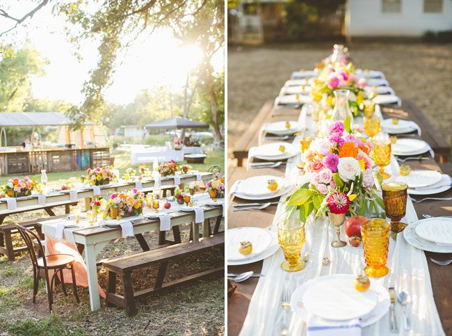 Orange-glass goblets, persimmons, and hot colored floral centerpieces make this a perfect match for an early spring wedding.