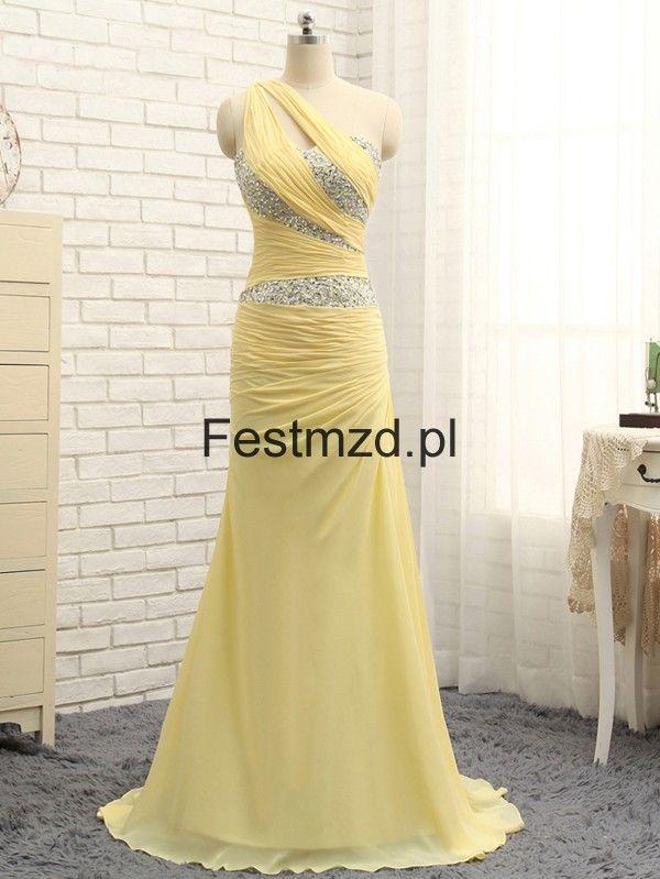 Zółty Jedno-ramię Koraliki Długie Szyfon Sukienka Na Studniówkę