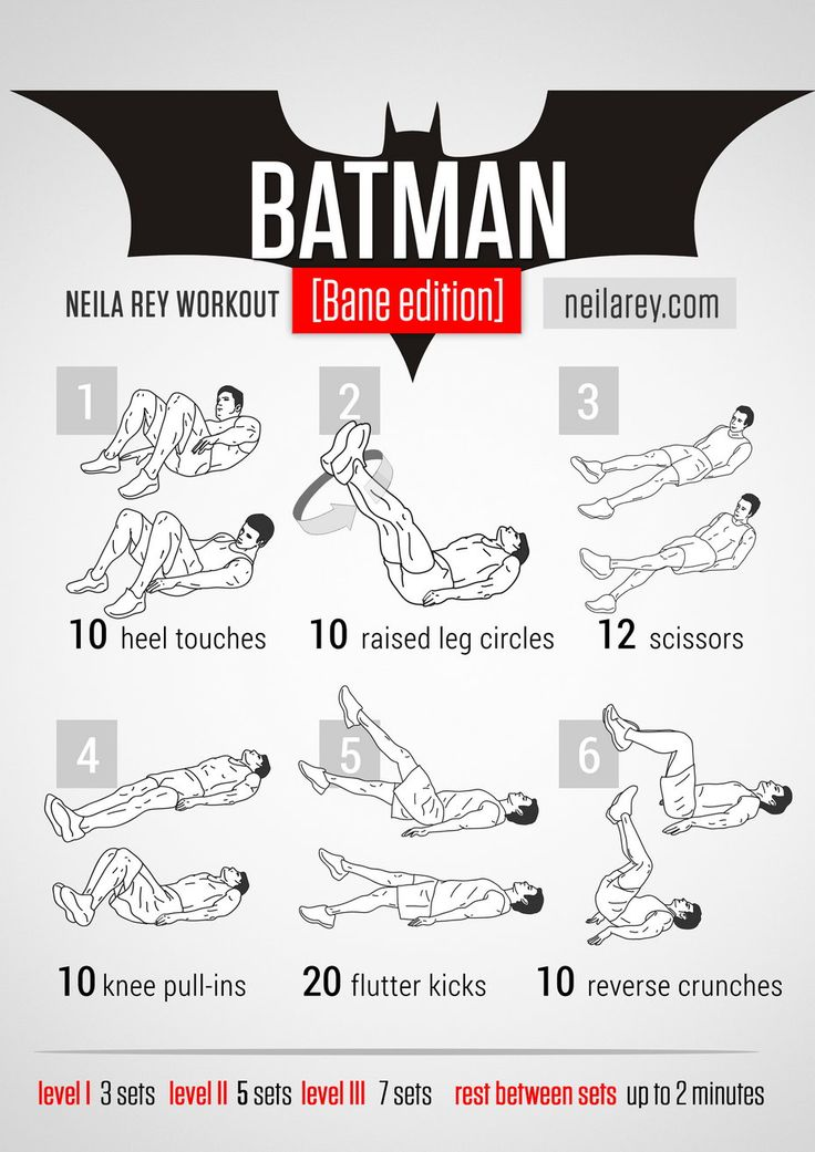 Batman [Bane Edition] Workout / works: lower abs, quads, upper abs, lateral abs, cardiovascular system