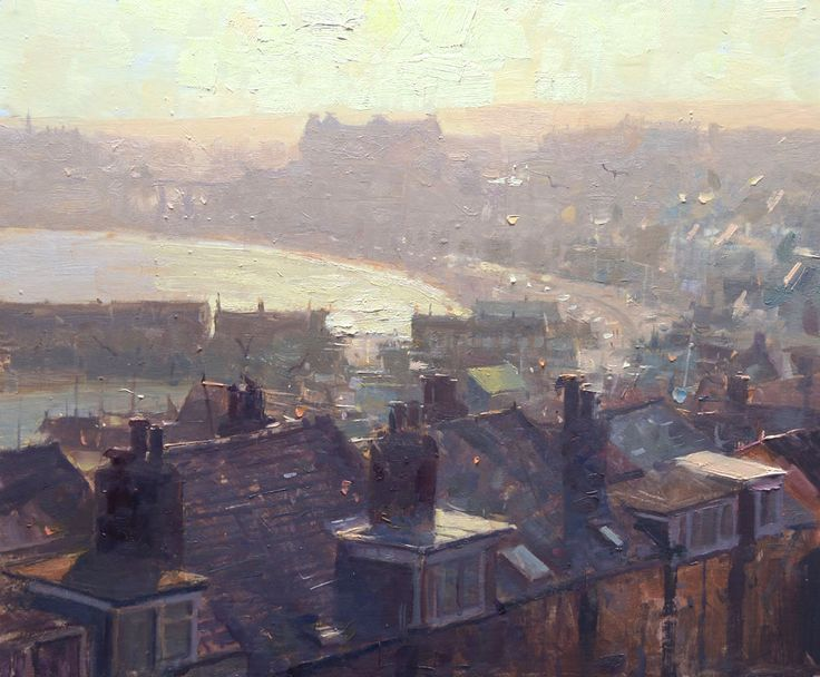 'Old Town, Scarborough' by UK artist Douglas Gray. Original painting available to purchase directly from my art gallery in Scarborough. douglasgraygaller...