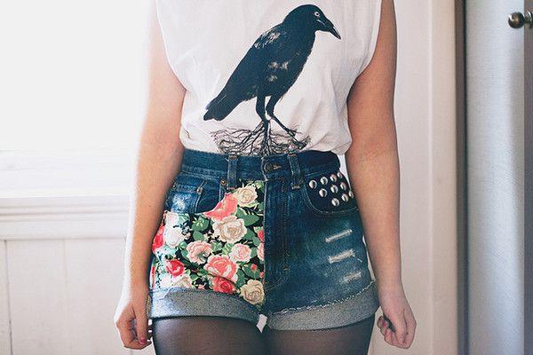 DIY shorts! Sólo necesitas un pedazo de tela y unos viejos jeans high waist