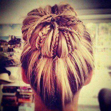 braids. bun. Love this