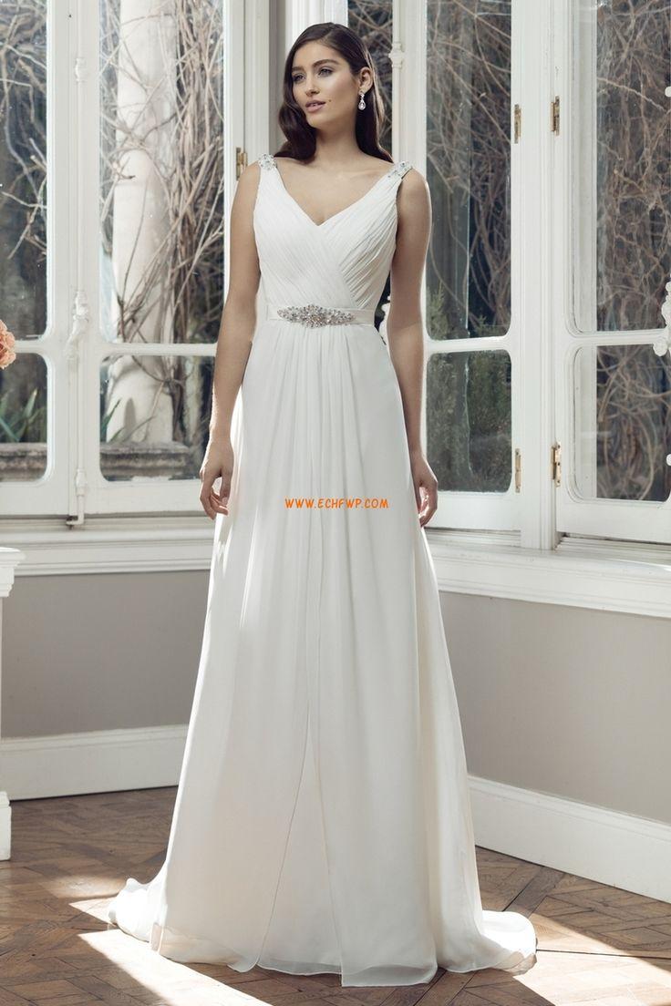 Áčkový střih Výstřih do V Léto Luxusní svatební šaty