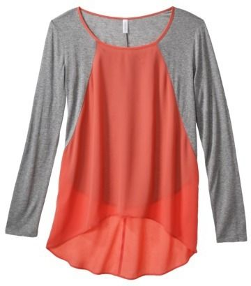 Xhilaration Junior's Knit to Woven Top - Coral on shopstyle.com