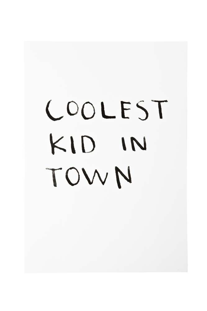 """Perfect as a baby gift and big kids alike!  Super stylish """"Coolest Kid In Town"""" print by Poppies For Grace!  Designed in Melbourne by the phenomenal ladies of Poppies for Grace!  Archival, acid free art and printed on white linen.  Size: A3 - 297MM x 420MM - fits standard A3 frames"""