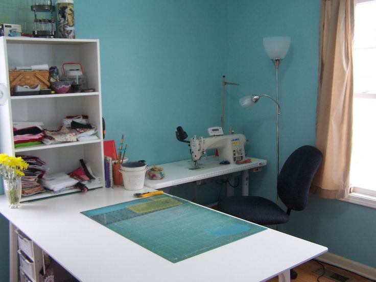 Sewing Room Design Ideas giant craft havensewing room from murphys designs Find This Pin And More On Sewing Room Ideas