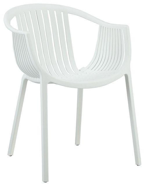 Hammock White Plastic Stackable Outdoor Modern Dining Chair by LexMod