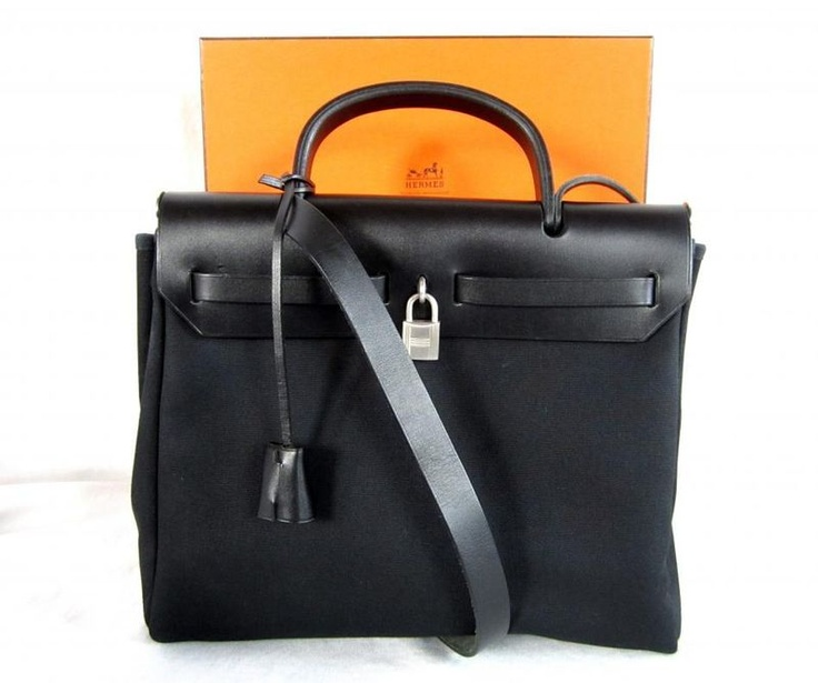 HERMES Black \u0026amp; Beige CANVAS W/ LEATHER TRIM CONVERTIBLE \u0026quot;HERBAG ...