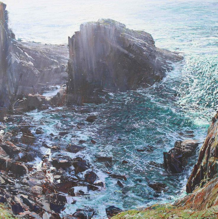 Paul Lewin Treen Cliff oil on canvas 100 x 100cm £3850 SOLD from www.cornwallcontemporary.com