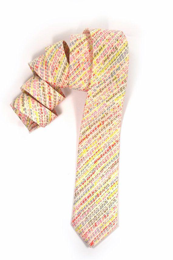Wedding Mens tie  pink yellow coral and orange by speaklouder