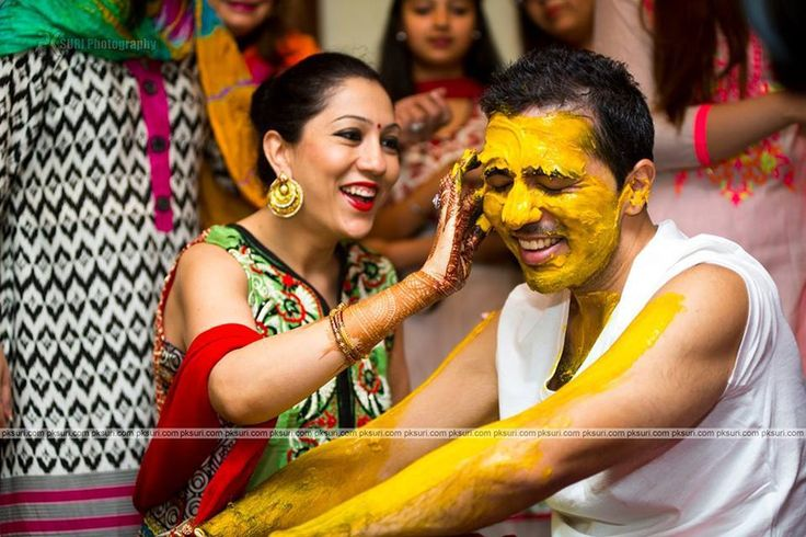 Fun candid moments from the groom's haldi ceremony.