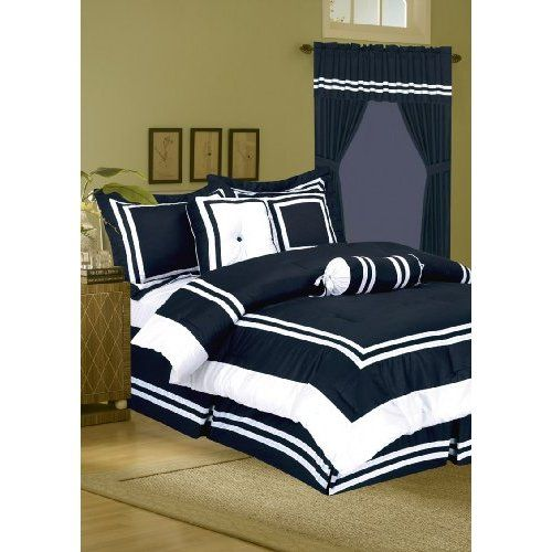 Navy White Piped Bed Linen Guests Like Fish Stink