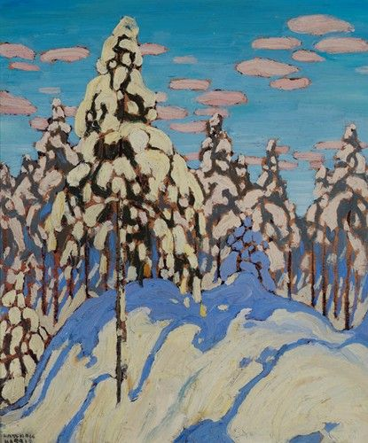 Lawren Harris - Snow Laden Trees  12.5 x10.5 Oil on wood (c. 1916)