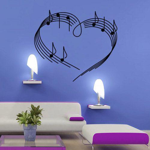 Wall decal decor decals art sticker note music song heart (m380)