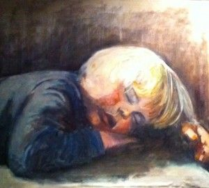 Sleeping beauty, oil painting by dutch artist Angeline van der Wal