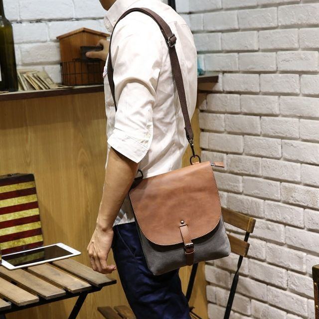 Check current price New shoulder bags men's crossbody bag Crazy horse pu leather & Canvas bolsas brand designer men business bag mens bolsos bags just only $19.88 with free shipping worldwide  #crossbodybagsformen Plese click on picture to see our special price for you
