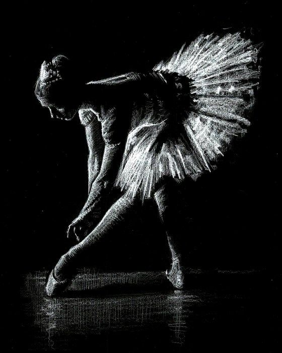 Ballerina 1 - White Pencil on Black Paper Image