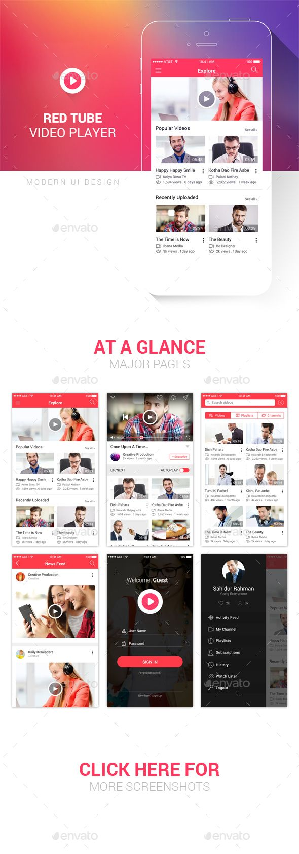 Red Tube Video Player UI PSD  This UI KIT for iPhone and Androi with 12 Screen App template of highest quality with modern and clean design.  12 PSD Files:-  • Explore • Video Player • Search Videos • Search Results • Search Channels • Search Playlists • Filter • Sidebar • Popup • Login • Signup