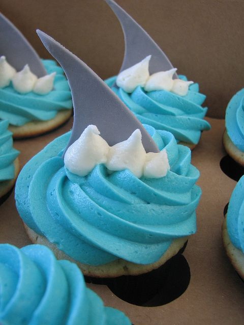 """Shark Fin"" Cupcakes by sugarcrushmiami, via Flickr"