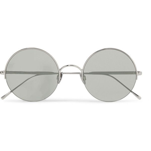 Sunday Somewhere Raine round-frame silver-tone sunglasses ($275) ❤ liked on Polyvore featuring accessories, eyewear, sunglasses, round frame sunglasses, retro sunglasses, grey lens sunglasses, round sunglasses and lightweight sunglasses
