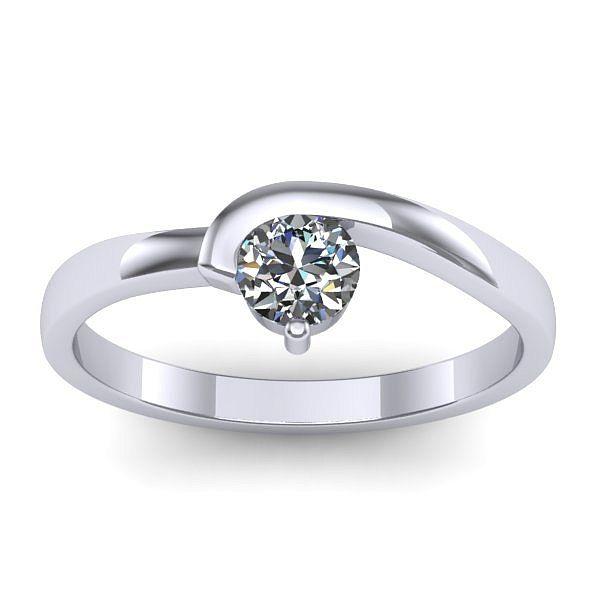 Inelul este realizat din aur alb 14k, greutate: ~1.80gr. Produsul are in componenta sa: 1 x diamant, dimensiune: ~3.70mm, greutate: 0.20ct , culoare: G, claritate: VS2, forma: round