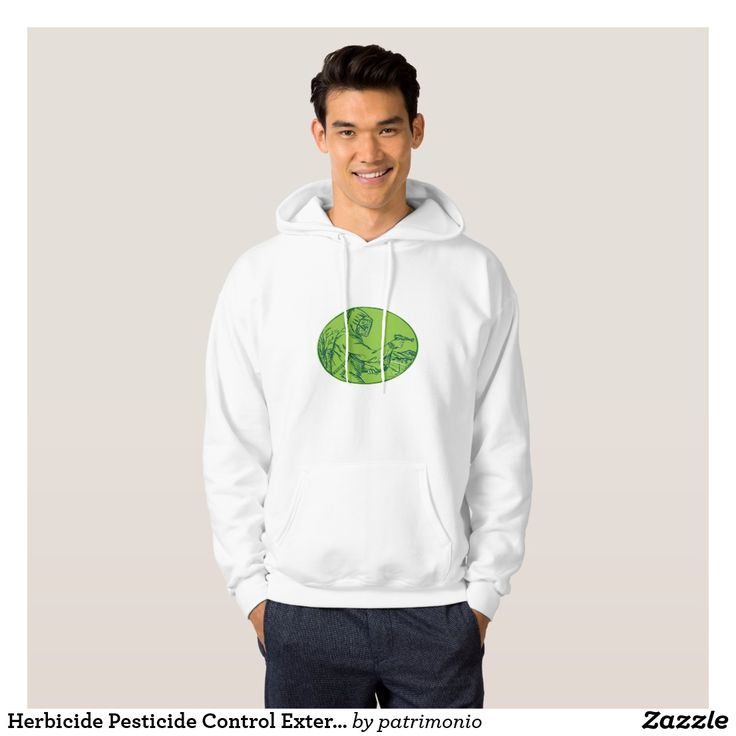 Herbicide Pesticide Control Exterminator Spraying Hoodie. Easy to customize hoodie for men with a drawing style illustration of a pest control exterminator spraying set inside an oval shape. #pestcontrol #exterminator #hoodie