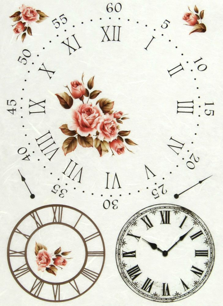 Ricepaper/ Decoupage paper, Scrapbooking Sheets /Craft Paper Clock